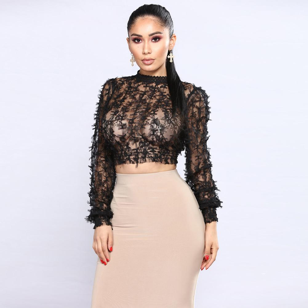 c4eb9c7cbd5 Sexy Women Sheer Lace Crop Top High Neck Long Sleeve Mesh See Through T  Shirt Femme Slim Fit Cropped T Shirt Feminino 2019 Black Awesome Cheap T  Shirts ...