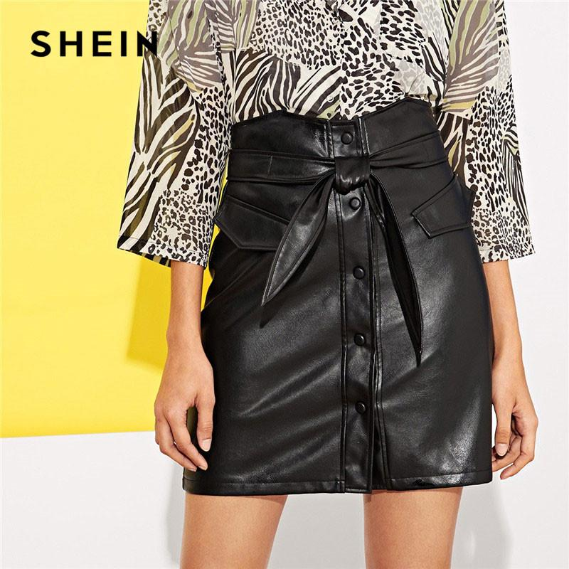 a9bb3e0299 2019 SHEIN Single Breasted Button Up Faux Leather Skirt With Belt Women  Mini Skirts Ladies Elegant High Waist Plain Sheath Bottoms From Viviant
