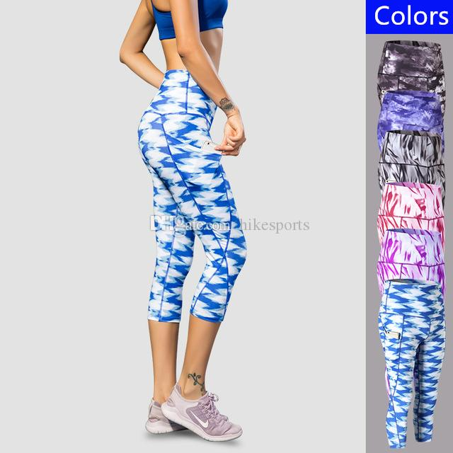 8bba6e0ab4 2019 3/4 Yoga Pants Women Quick Drying Print Cropped Trousers Gym Fitness  Tights Running Capri Pants Sports Leggings High Waist Capris Sweatpants  From ...