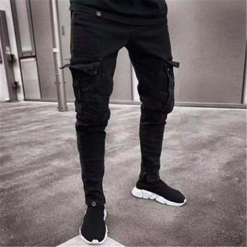 c1da384c41 Compre 2018 Hombres Denim Jeans Negros Pantalones Vaqueros De Rayas  Delgadas Hip Hop Lápiz Delgado Pantalones Para Hombre High Street Patchwork  Stretch ...
