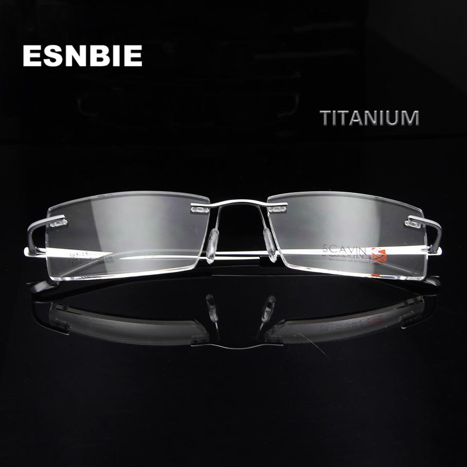 d5164cd5cd 2019 ESNBIE Men S Titanium Eyeglasses Rimless Eyewear Frames Women Glasses  Optical Ultralight Square Flexible Prescription Eyeglasses From  Marquesechriss