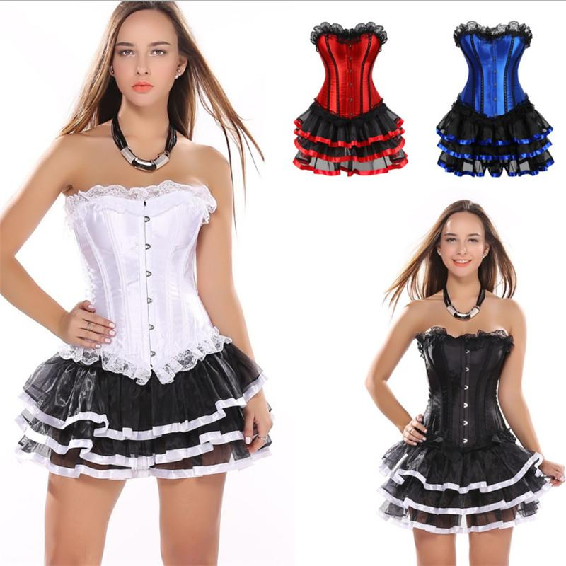 Steampunk Corset Dress Bustier Gothic Corselet Sexy Corsets Women Lace Overbust Floral Party Hot Skirt Set Corsetto