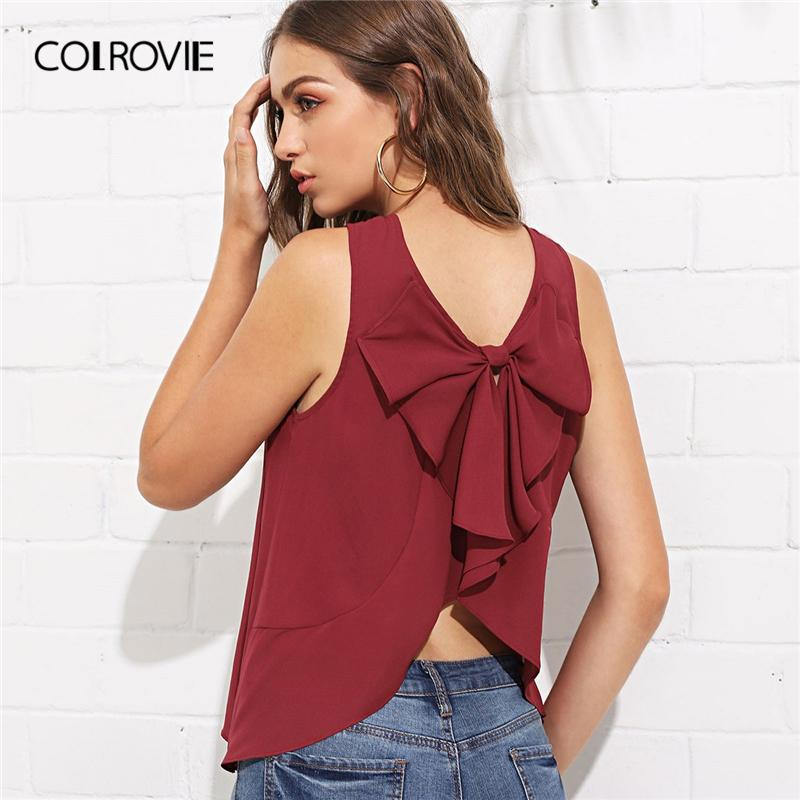 6678ea7d665 wholesale Burgundy Bow Knot Curved Back Shell Korean Style Blouse Tops For  Women 2019 Summer Sleeveless Shirt Sexy Ladies