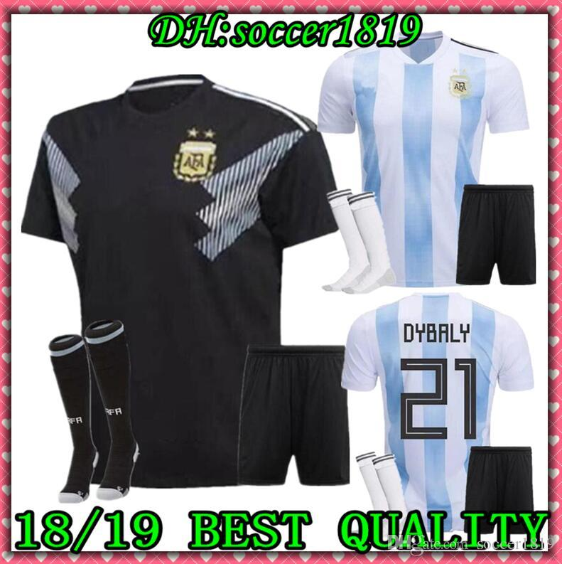 7ff4c4458a0 2019 MESSI 2018 World Cup Argentina Men Kit Home Away Soccer Jersey ...