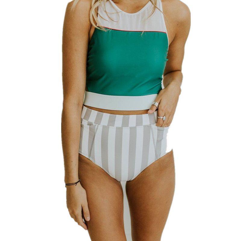 4446912b45d1 Großhandel Vintage Badeanzug Frauen Retro Hohe Taille Bikinis Set Push Up Bikini  Bademode Gestreifte Biquini Freisteller Badeanzug Maillot De Bain Von ...