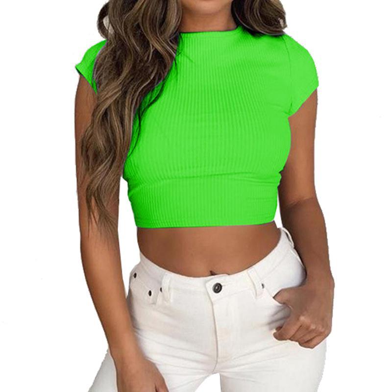 235b01c0 Ocasional de las mujeres camisetas cortas Lady Sexy Crop Top O-cuello de  playa de verano vacaciones camisetas Fluorescente verde de manga corta ...