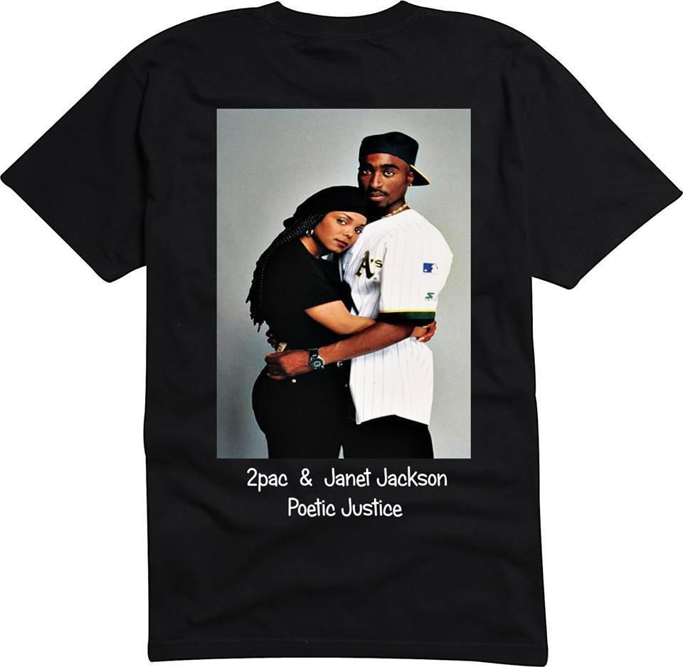TUPAC 2pac & JANET JACKSON Poetic Justice T Shirt Size S - 3XL jersey Print  t-shirt Classic Quality High t-shirt