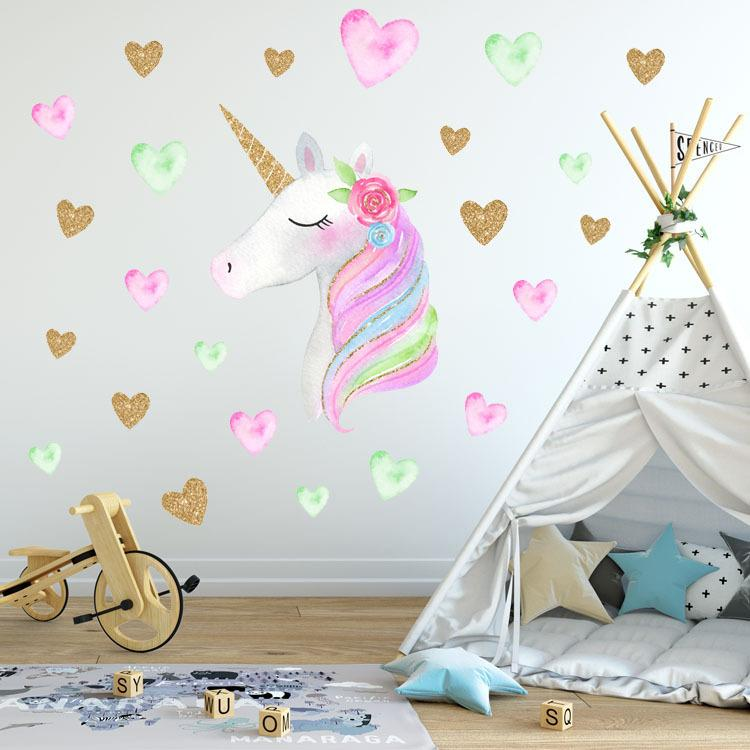 New 36*60cm unicorn wall sticker children baby Animal Cartoon PVC unicorn  horns home decor wall stickers Decal Kids Bedroom Decorations