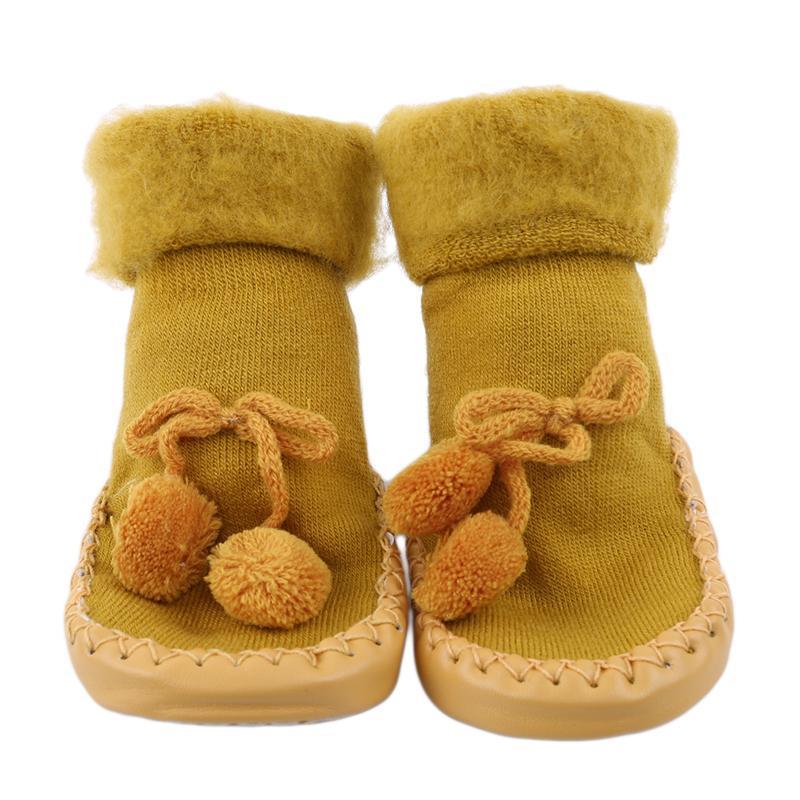Newborn Baby Boys Girls Letter Bownot Floor Socks Anti-Slip Soft Step Socks