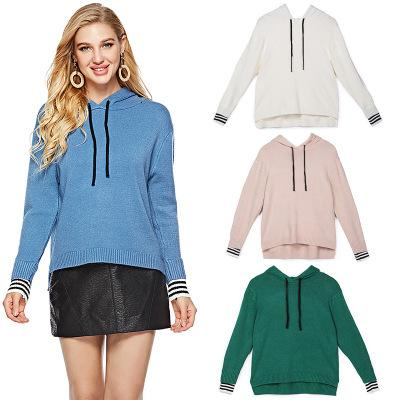2018 New Brand Women Casual Hoodies Fashion Ladies Pullover Long Sleeve Sweater Hooded Female Knitted Sweatshirt