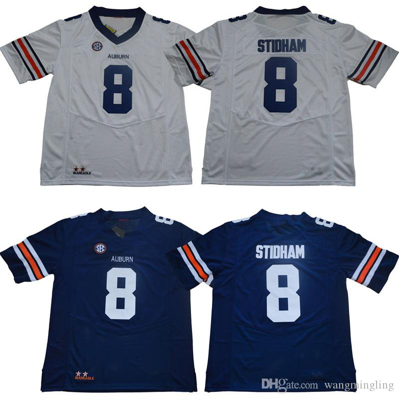 Men College Auburn Tigers Jerseys White Blue 8 Jarrett Stidham Adult Size Football Jersey Stitched Free Shipping