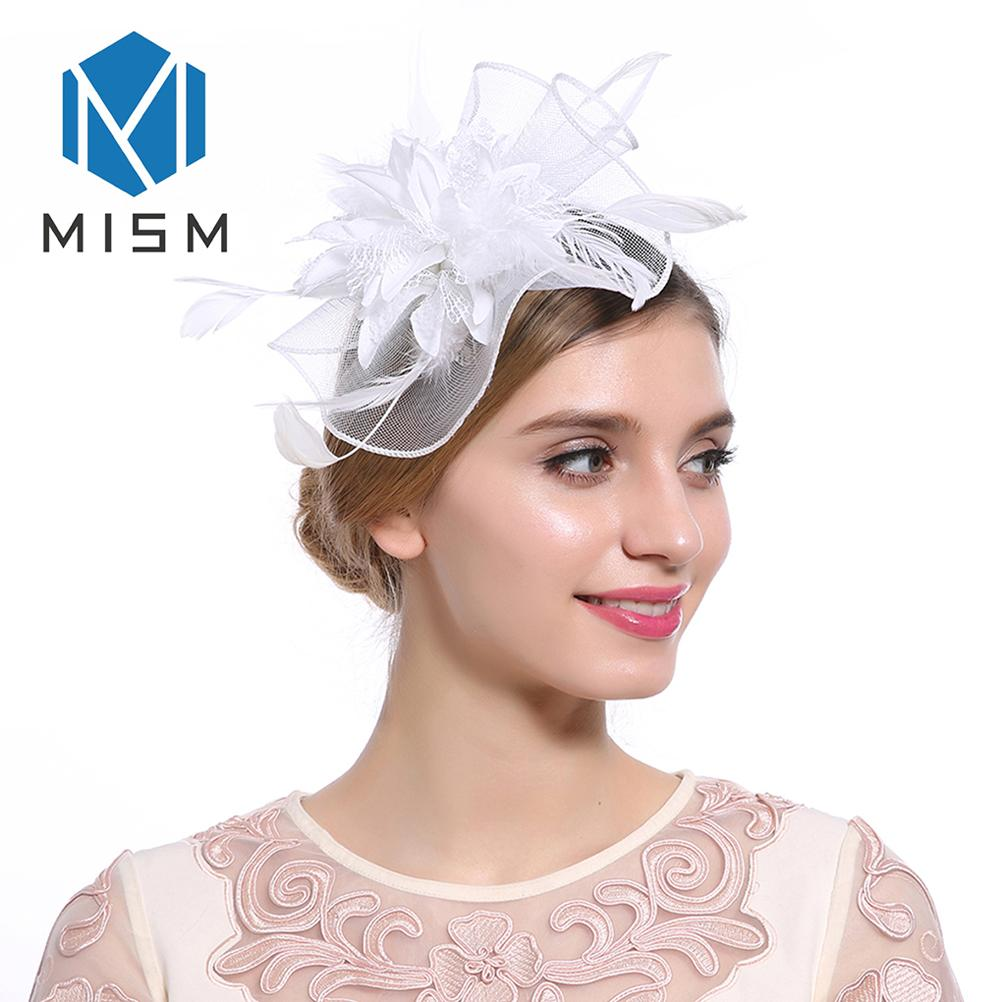64ddd379271d03 M MISM Women Elegant Fascinator Hair Clips Hollow Flower Feather Beads Hair  Bands Yarn Cocktail Party Wedding Accessories Ladies Hair Band Hair  Accessories ...