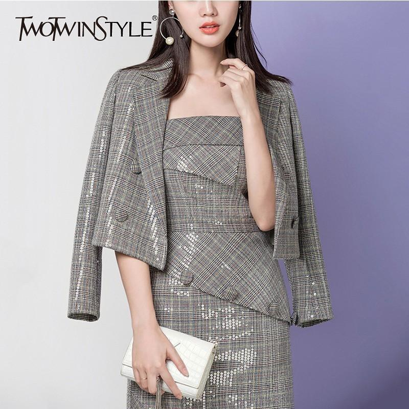 a29967f33611 TWOTWINSTYLE Heavy Sequins Plaid Blazer Coat Female Long Sleeve Double  Breasted Short Women's Suits Elegant Fashion 2018 Autumn