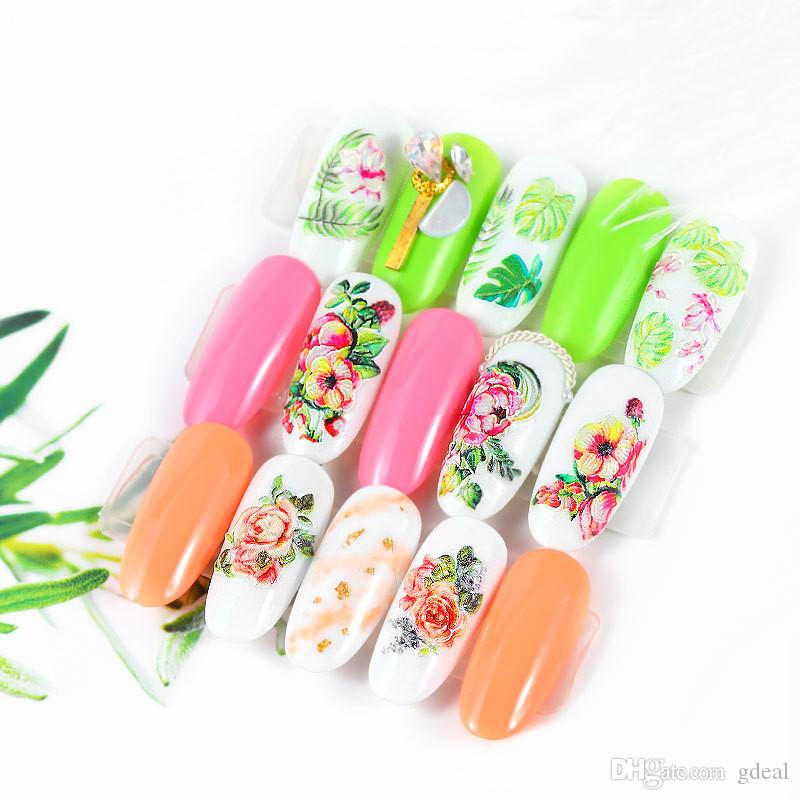 5D nail sticker flower series embossed watermark sticker nail sticker nail applique water paste free ship dhl 100