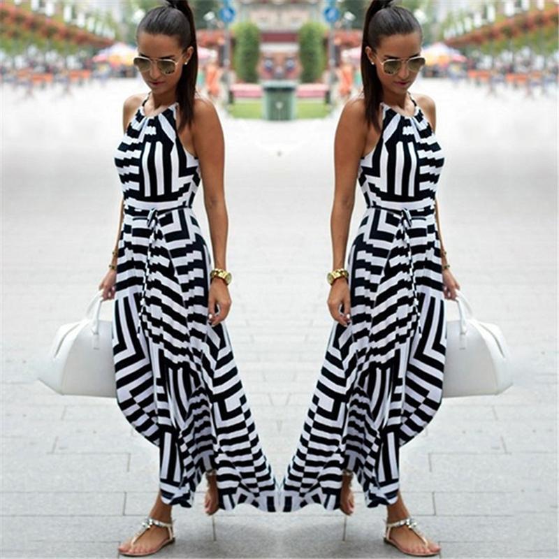 c60369a65a1b Frauen Sexy Sommerkleid Boho Gestreiften Sleeveless Maxi Langes Kleid  Strand Stil Strap Sommerkleid Vestidos für Weibliche NQ987428 Y190117