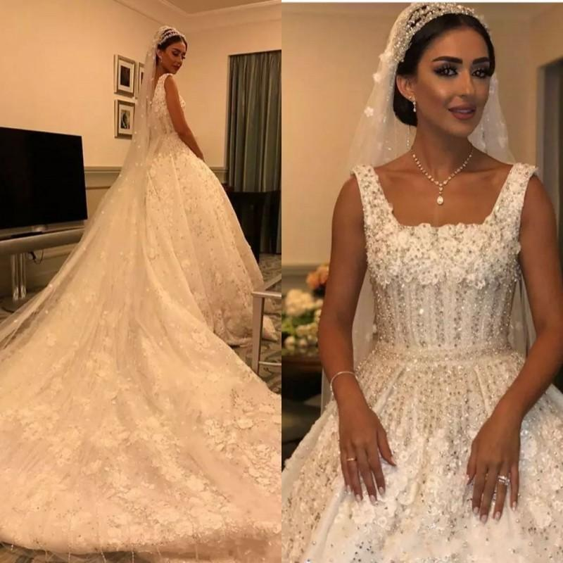 2019 Luxurious Ball Gown Wedding Dresses Square Neck Lace Bling Crystal  Beading Flowers Church Cathedral Train Plus Size Formal Bridal Gowns  Renaissance ... 27bc0833fb95