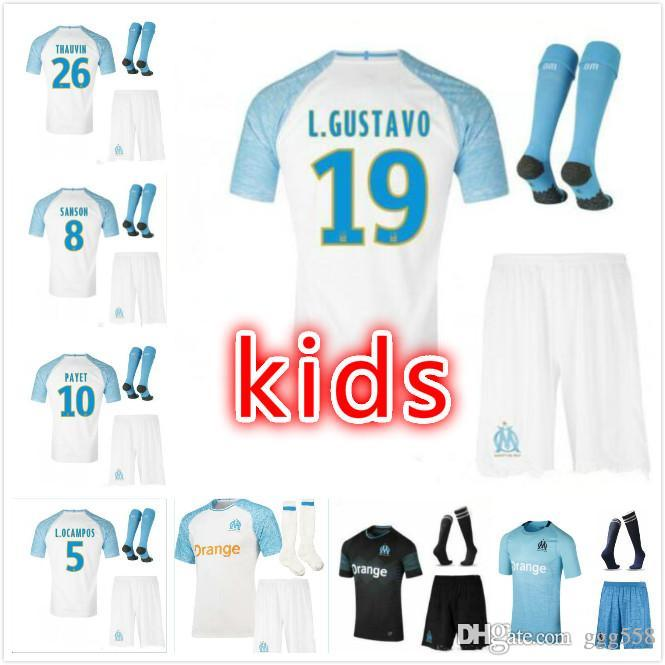 newest 947b1 75322 KIDS KIT 2018 2019 Olympique de Marseille jersey soccer L.OCAMPOS 18 19  PAYET CLINTON away 3rd CABELLA L.GUSTAVO GERMAIN maillot de foot