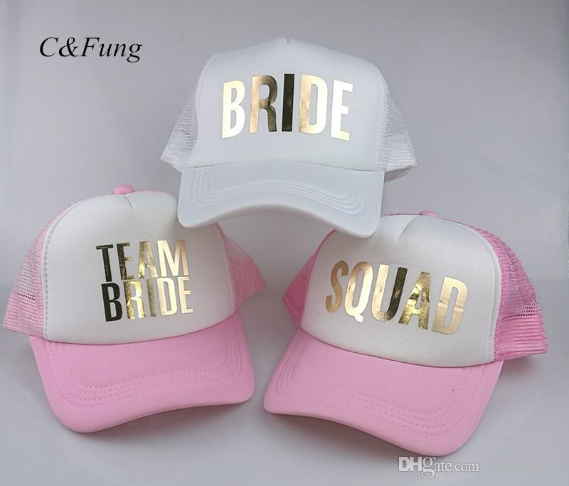 67ee64caf C&Fung SQUAD BRIDE TEAM BRIDE trucker hats basebal Caps for wedding party  gold glitter pink mesh hats Summer style #17201