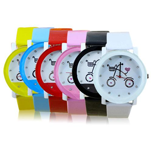 Lady Women Girls Wrist Watch Fashion Bicycle Pattern Faux Leather Strap Belt Quartz Cute Watches New Design 5d7q 6ykp