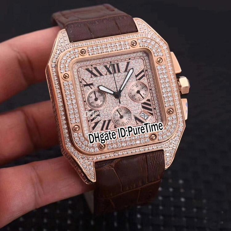 New W20131 Rose Gold Diamond Case Gold Diamond Dial Big Roma Mark Miyota Quartz Chronograph Mens Watch Brown Leather Watches Cheap CAr353b2