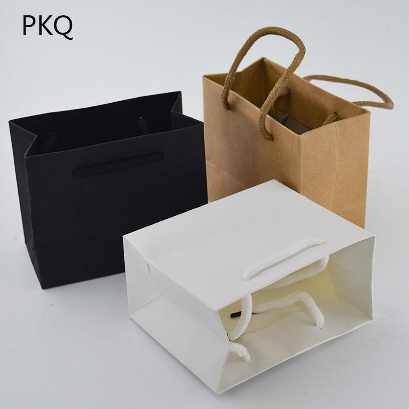 fa0eb28aaea 20pcs High Quality Small Gift Bag with Handles Jewelry/Perfumes Packaging  Bag Pink/White/Black Kraft Paper Mini Shopping