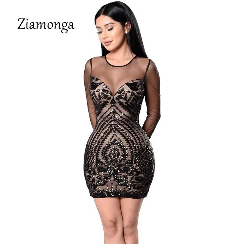 58618dc151 Ziamonga Autumn Sexy Sequin Dress Women Elegant Lady Black Bodycon Dress  ClubWear Vintage Women Night Club Wear Winter Dress