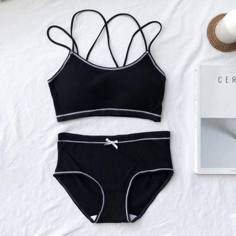 2019 Women Black Lingerie Bra Set Underwear Comfortable Wireless Home Wear  Black And White Cotton Bras Sets From Yuhuicuo 0486a28a9