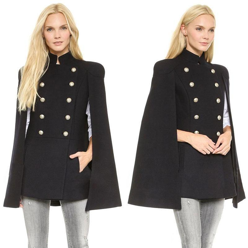 Cheap 2019 New evening Best Wool Outerwear Coats With Batwing Sleeve Black Women's Double Breasted Capes Wool Blend Coat Cappa Jacket Cloak