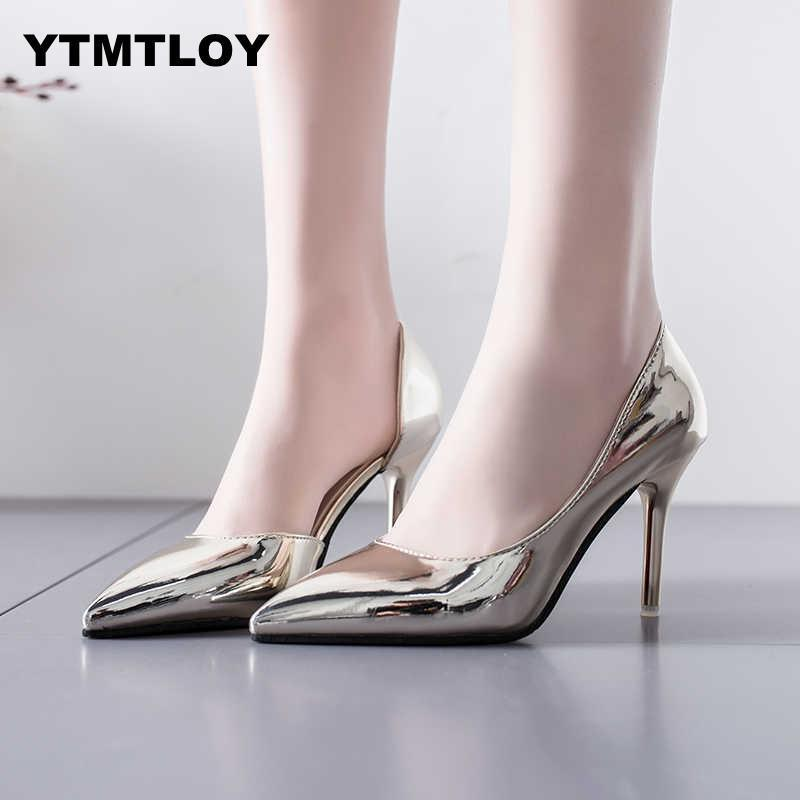 746d36dd380 Shoes Women Pumps Mid Heel Pump Ladies Pointed Toe Casual Sandals High  Heels Wedding Sexy Pumps Gold Silver Zapatos Mujer 8cm