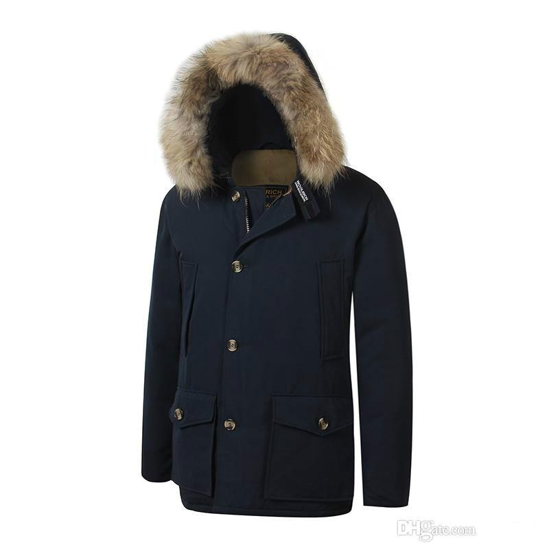 new product 4e3ca 96957 2018 Brand New woolrich Removeable Raccoon Fur Mens Arctic Down Parka Warm  JACKET thick outdoor Winter Coat
