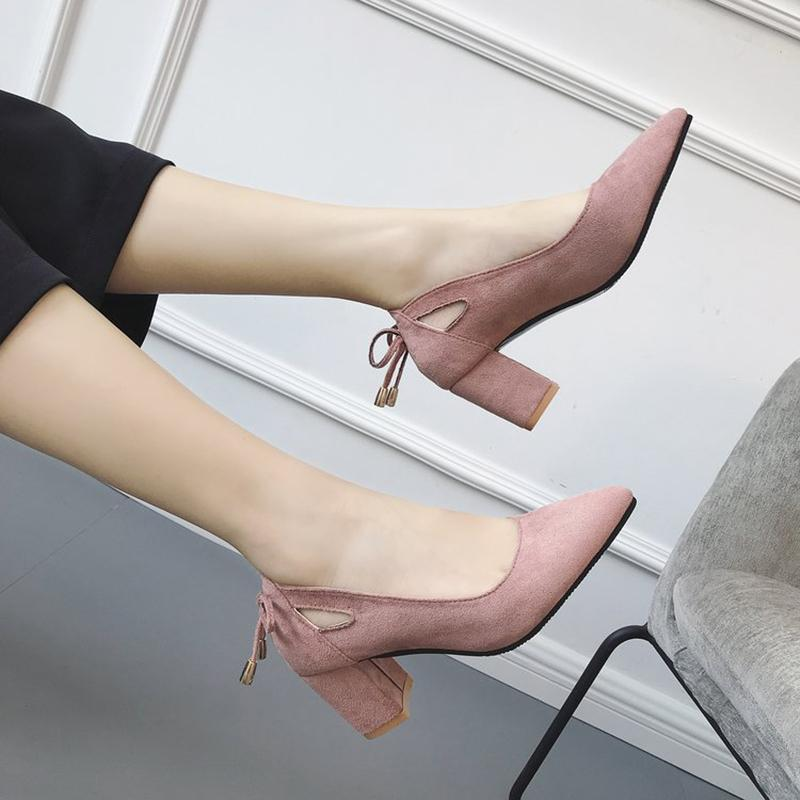 Dress Shoes Plus Size Pumps Women High Heels Pointed Toe Hollow Out Bow Pump Slip On Block Heels Sandals Ladies Comfortable Pumps