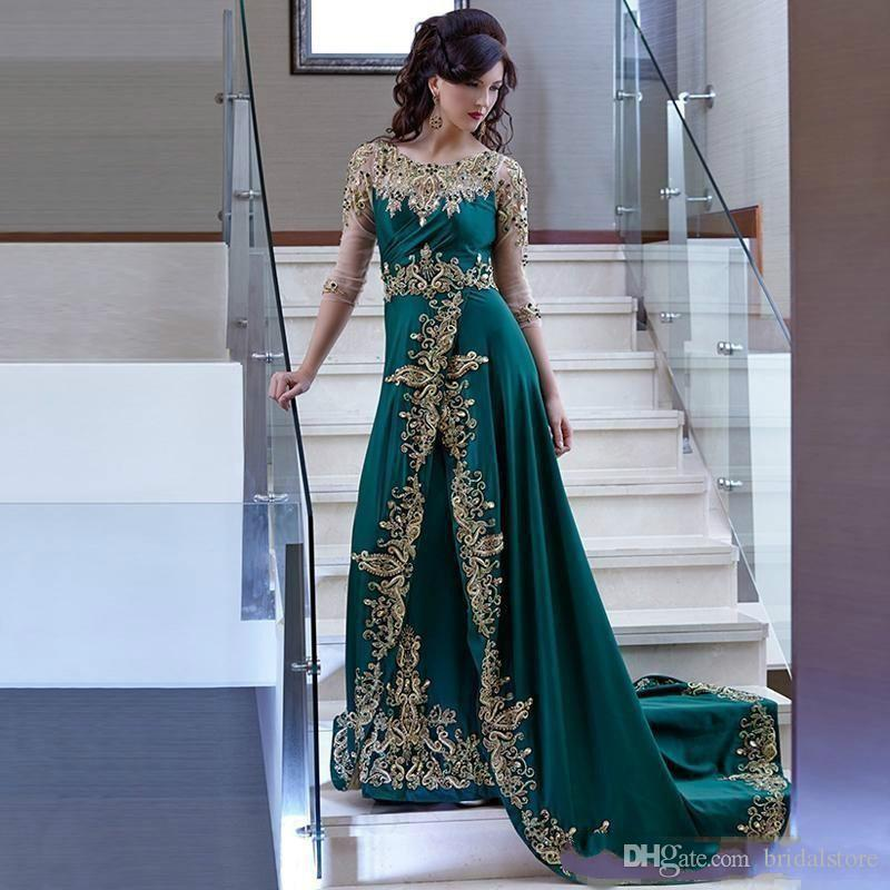 Gorgeous Emerald Green Arabic Prom Dresses O Neck Lace Middle East Ballkleide Modest Formal Evening Gowns Beaded Sleeves robe formelle noire
