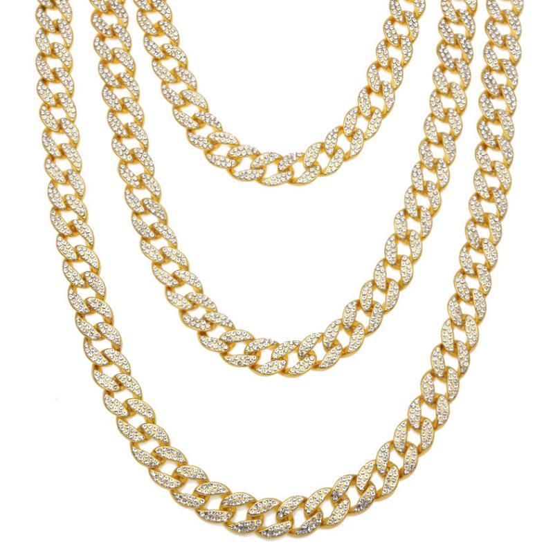 16mm Miami Cuban Link Chain Gold Silver Necklace Bracelet Iced Out Crystal Rhinestone Bling Hip hop for Men Jewelry Necklaces
