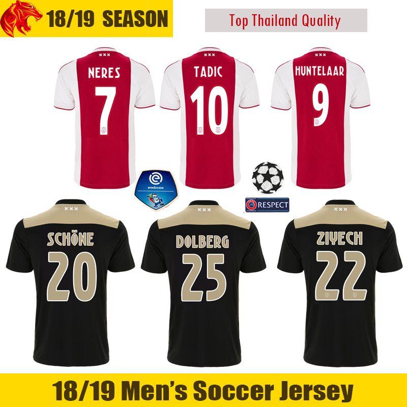33d15ddf4 2019 18 19 Ajax Soccer Jersey SCHONE 2018 2019 Ajax TADIC Football Jersey  HUNTELAAR NERES ZIYECH Football Shirt DE LIGT DOLBERG Soccer Shirt From  Lkfushi