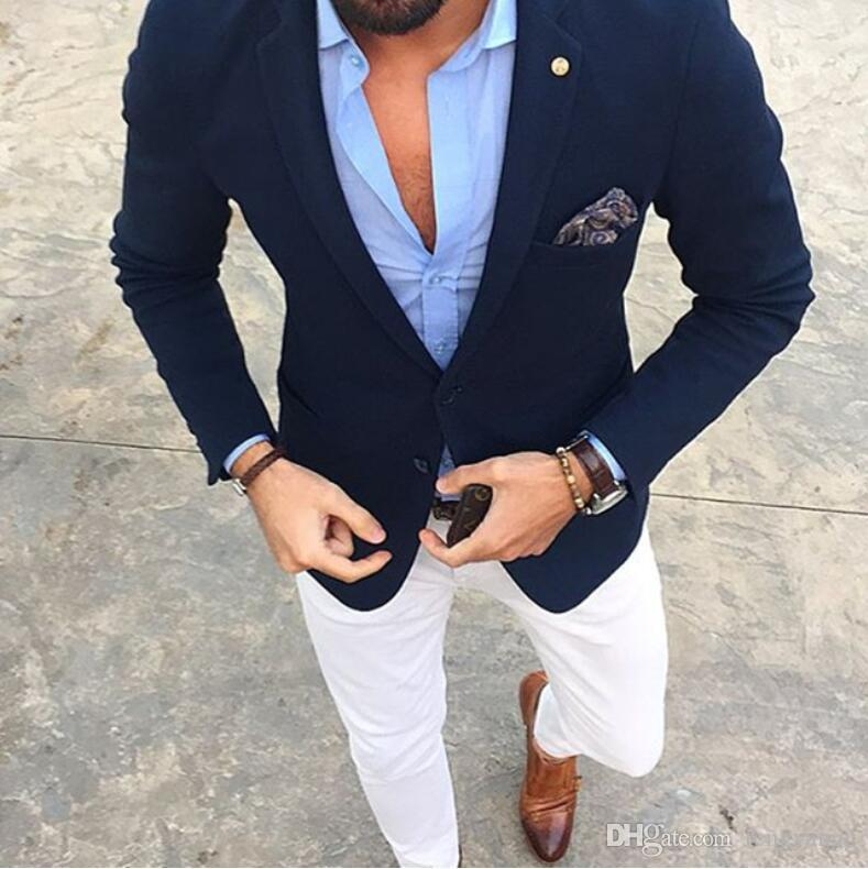Casual Men Suit Groom Tuxedos Single Breasted Navy Jacket With White Pants Slim Fit Wedding Guest Wear Prom Party Formal Suit Custom Made