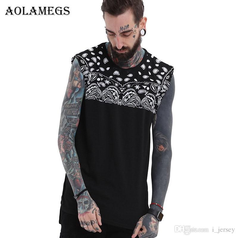 7bb500509ff4b 2019 Aolamegs Tank Tops Men Paisley Print Black Men S Vest Casual Fashion O  Neck Sleeveless Fitness Tank Top Cotton Summer Clothing  158249 From  I jersey