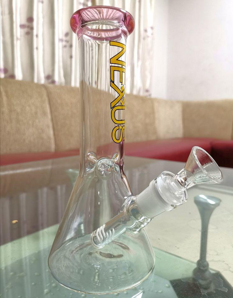 Dhping shop Beaker bong colorful dab oil rig bubbler beaker mini glass water pipe with 14mm bowl