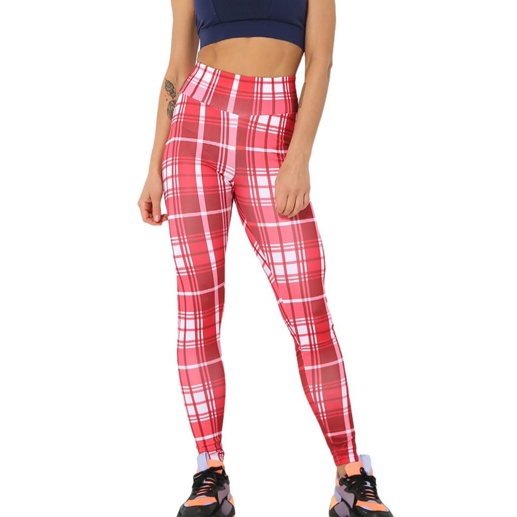 65db41719 2019 Yoga Pants Women High Waist Elastic Yoga Legging Women Casual Plaid  Gradient Print High Waist Running Sports Pants Trouser From Yiquanwater, ...