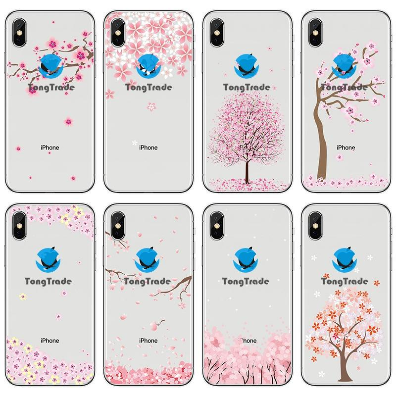 [TongTrade] Soft Silicone TPU Case For iPhone 8 7 6s 5s 11 Pro Max X XS Plus Custom Cherry Blossom Fruit Fresh Estheticism Artistic Case