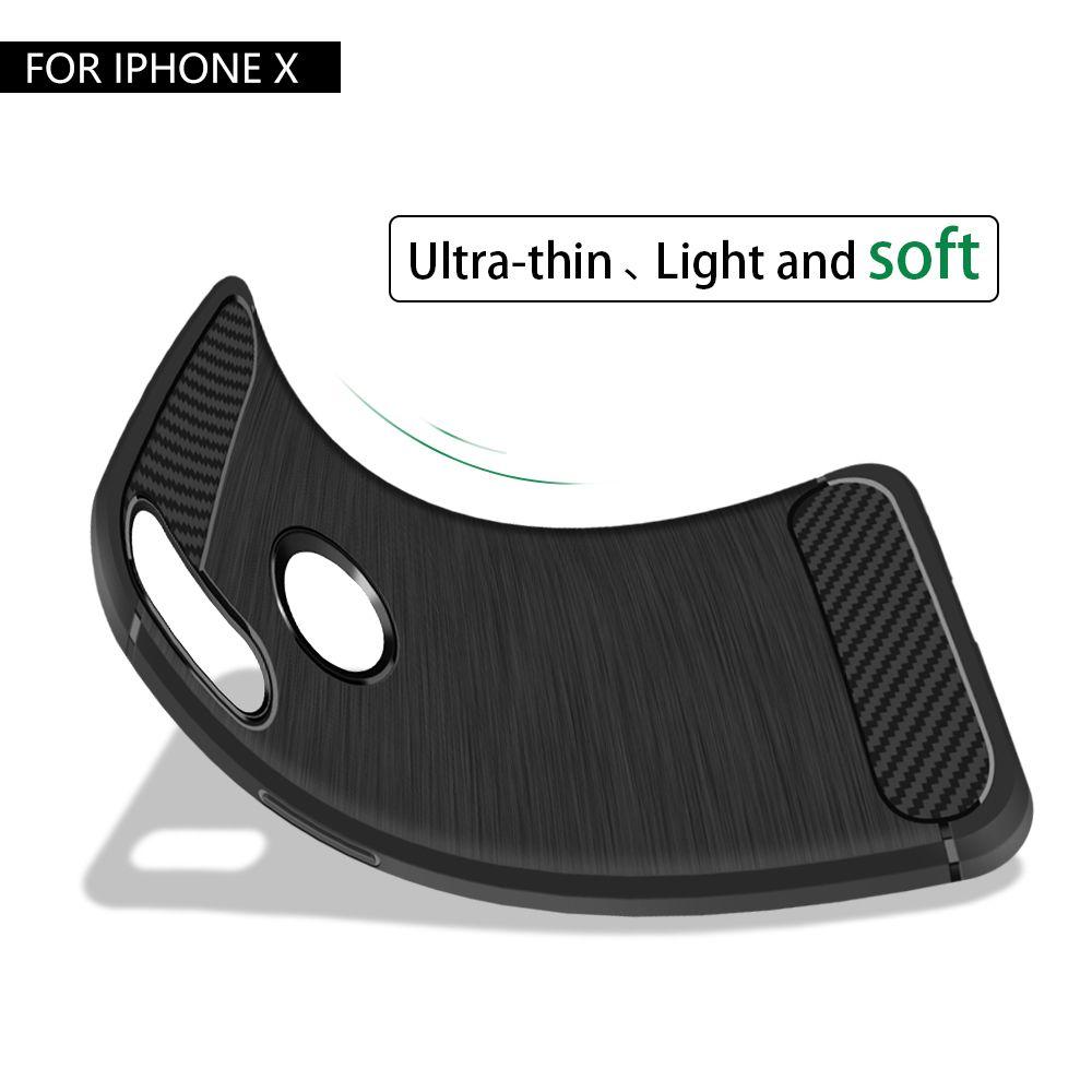 Funda de fibra de carbono para iPhone 12 Mini 11 PRO XS MAX 8 7 6S PLUS TPU Cubierta del teléfono de goma