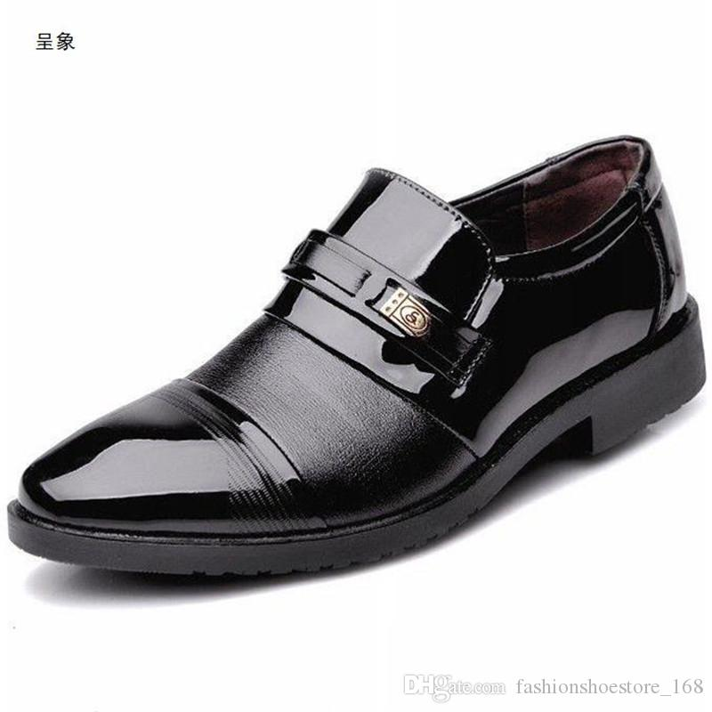 0d95630a5f8 Man Dress Loafer Shoes Pointed Toe Mens Patent Leather Black Business  Wedding Shoes Luxury Brand Classic Brown Oxford Formal Shoes Boat Shoes  Shoes For Men ...