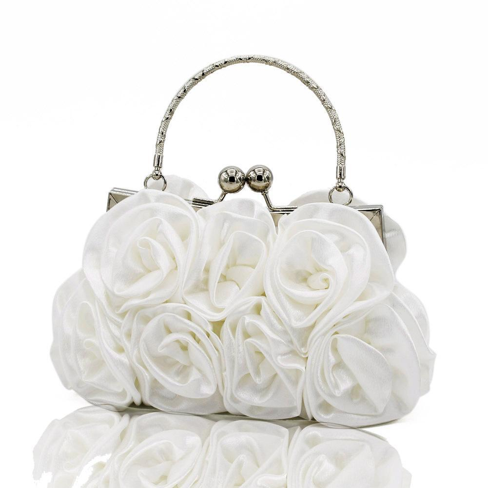 Elegant Women Satin Rose Floral Rhinestone Handbag Small Evening Bags Women's Party Clutch Flower Female Wedding Handbags White