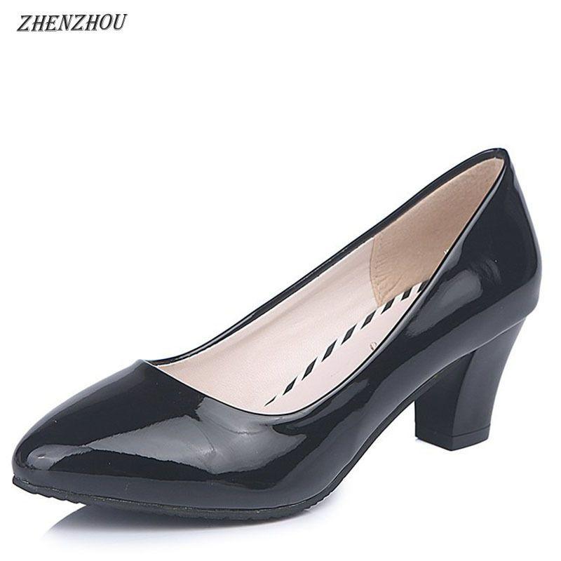 4940e51435c Compre 2019 Vestido Frete Grátis Bombas 2018 Nova Primavera Único Sapatos  Femininos Preto Branco Sapatos De Trabalho Com A Parte Inferior Com Sapatas  Das ...