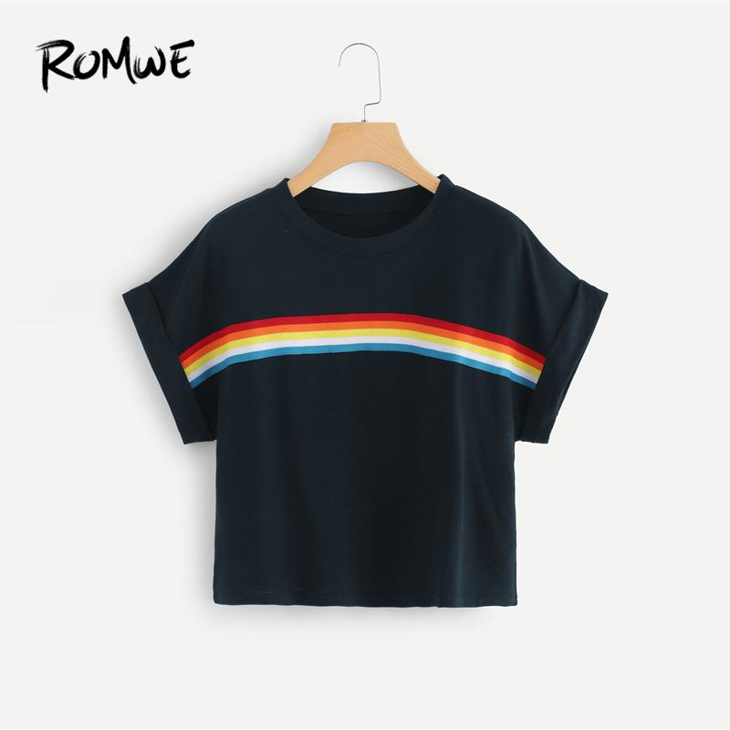 5bbb16dc34bb84 Striped Tape Panel Crop Tee Fashionable Awesome Summer Young Roll Up Sleeve T  Shirt 2019 Simple Women Clothes Tops Designer T Shirt Coolest T Shirts From  ...