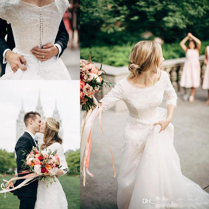 Modest Wedding Dresses With Half Sleeves Buttons Back Lace Appliques Sweep Train Country Boho Western LDS Bridal Gowns