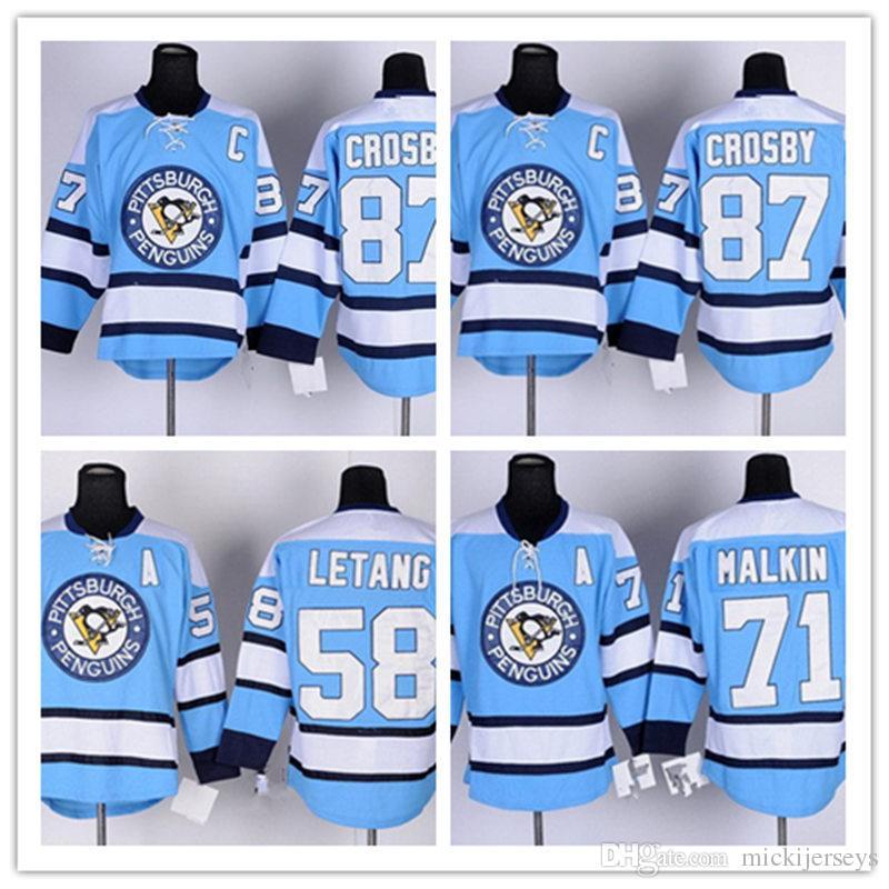 2019 Men Pittsburgh Penguins Sidney Crosby Jersey Stitched Light Blue  71  Evgeni Malkin  58 Kris Letang Pittsburgh Penguins Jersey From Mickijerseys b25cd66c1