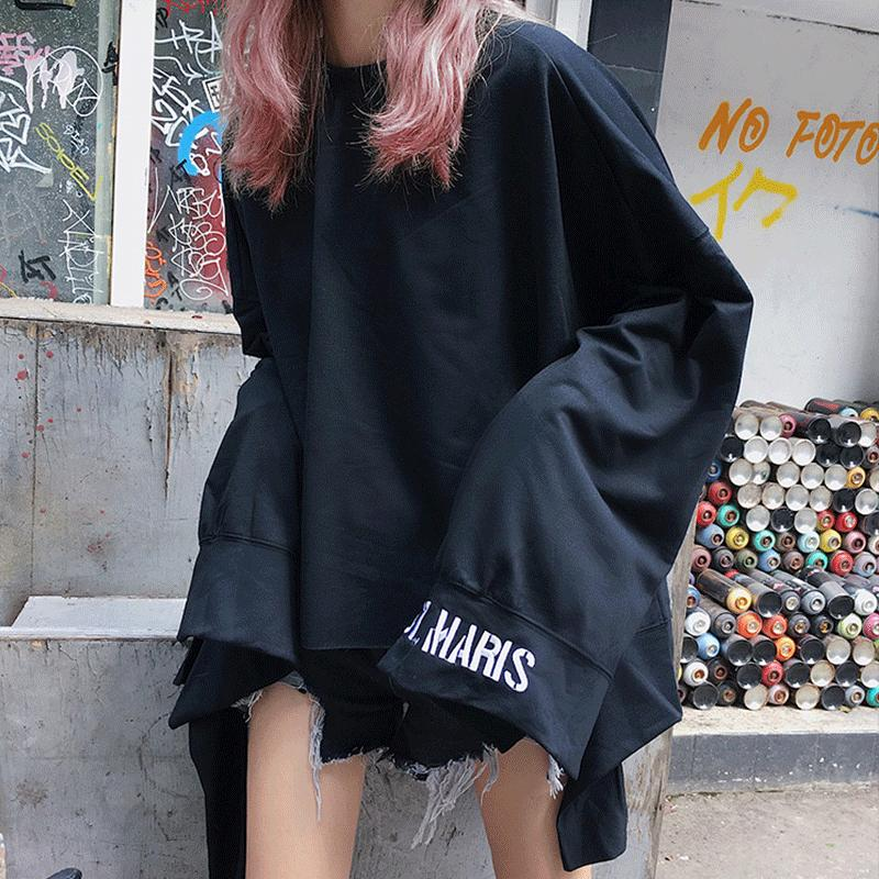 a5468446caed0 Spring Autumn New Style Ulzzang Women s Clothing Loose Ins Female Pullovers  Fashion Brands Korean Thin Asymmetrical Sweatshirts