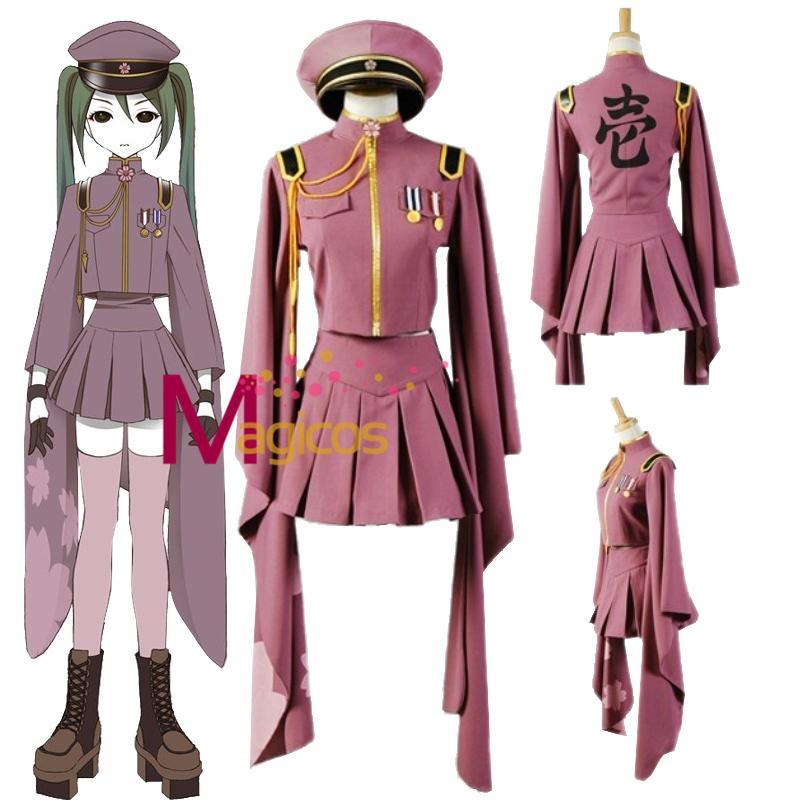 Anime Vocaloid Hatsune Miku Senbonzakura Kimono Uniform Dress Outfit  Halloween Cosplay Costumes