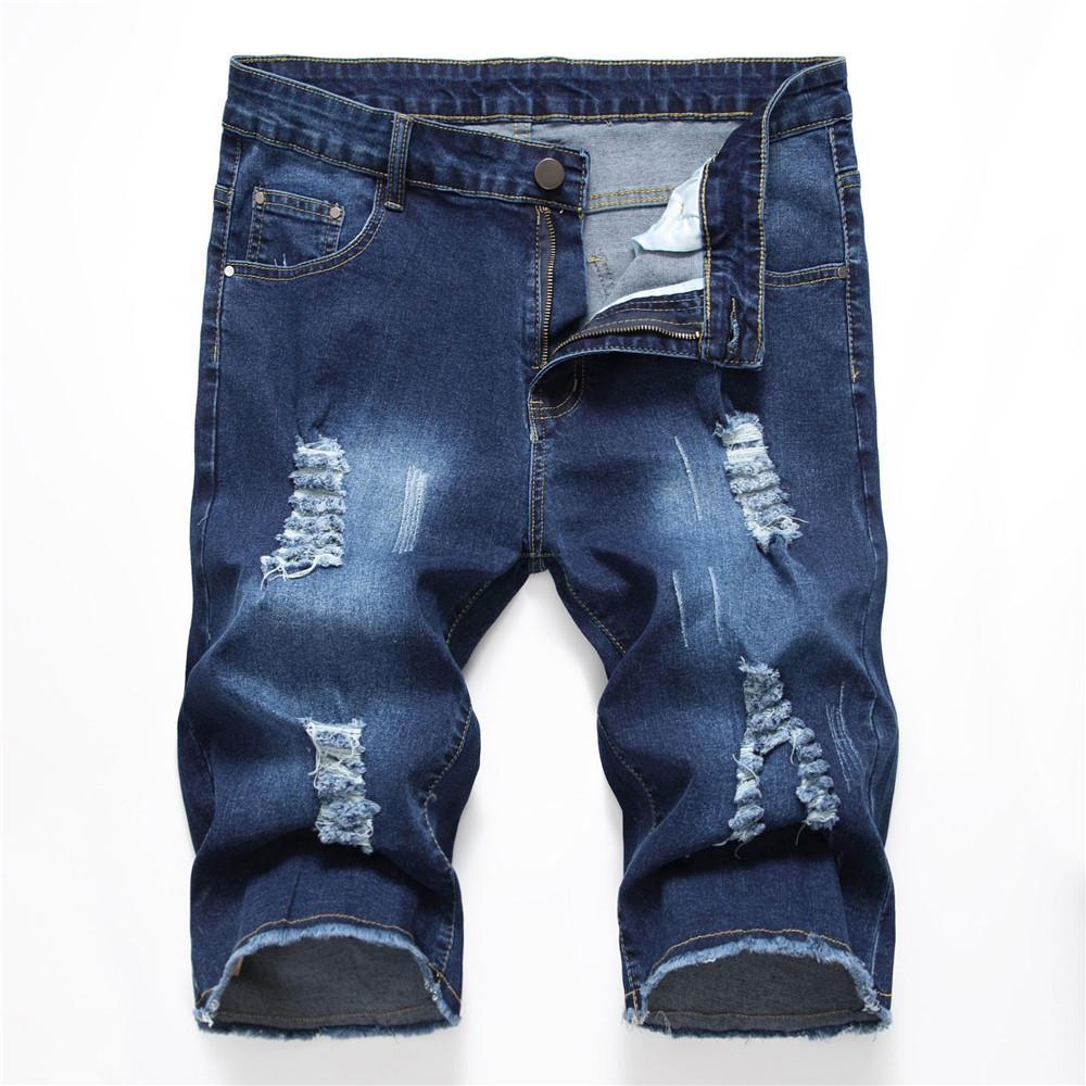 af5068b64 Nuevos pantalones vaqueros rasgados Pantalones cortos de moda Pantalones  vaqueros holgados de los hombres Capri Agujero Bermudas Praia estiramiento  ...