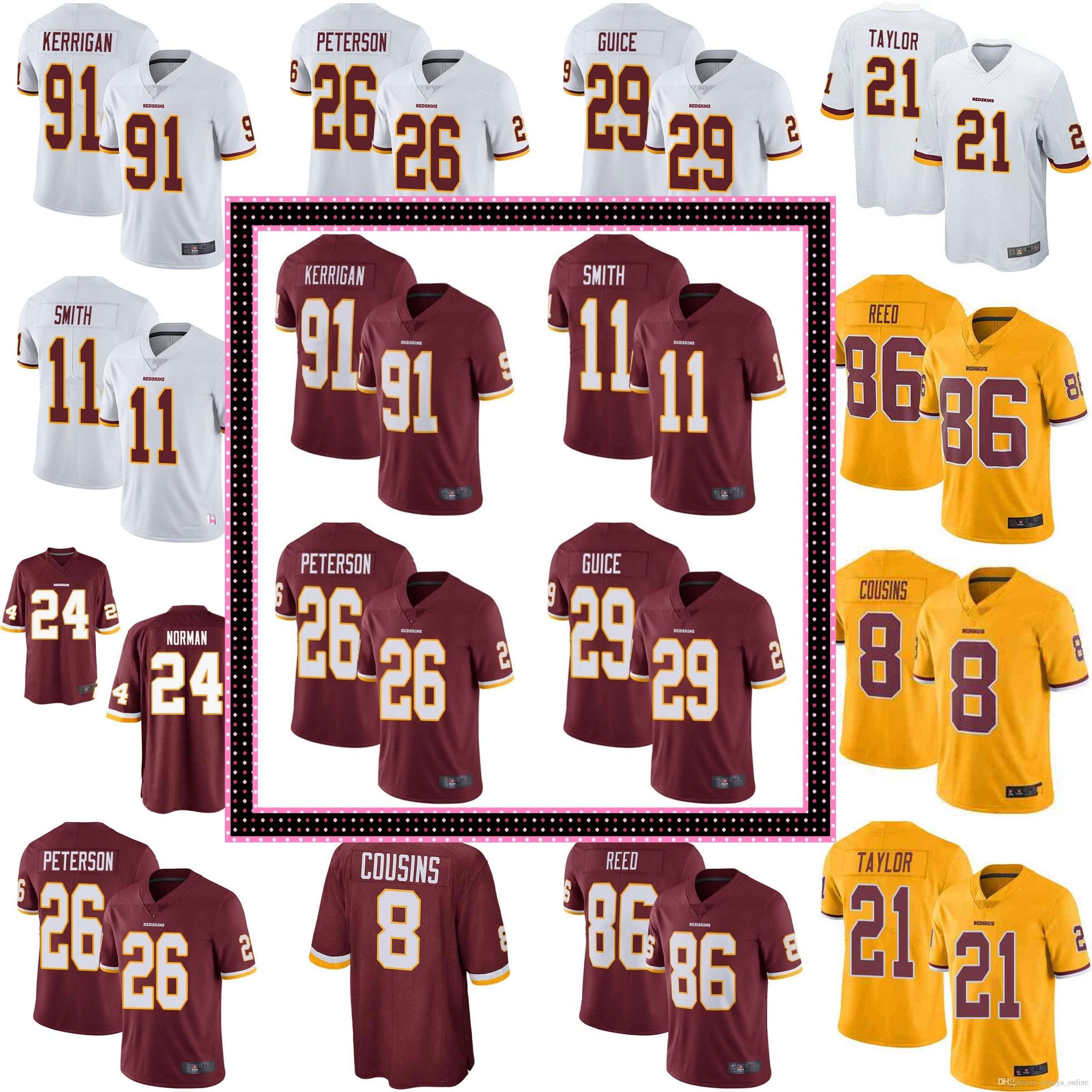 12ae2f1d8e3 2019 Mens Washington 8 Kirk Cousins 11 Alex Smith 21 Sean Taylor Redskins  29 Derrius Guice Jersey 72 Eric Fisher 86 Reed 95 Da'Ron Payne Jerseys From  ...